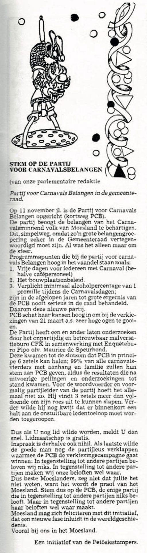 Stukje uit de carnavalskrant van de Petôsiestampers - 1990