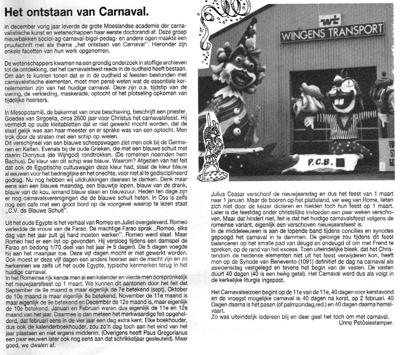 Stukje uit de carnavalskrant van de Petôsiestampers - 1991