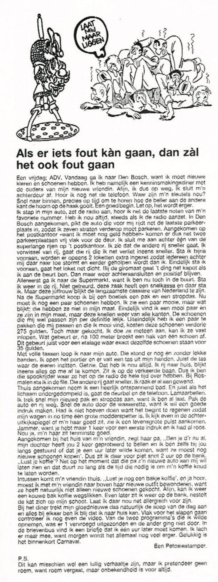 Stukje uit de carnavalskrant van de Petôsiestampers - 1992
