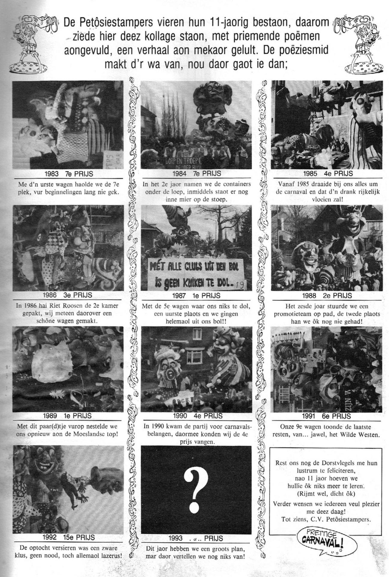 Stukje uit de carnavalskrant van de Petôsiestampers - 1993