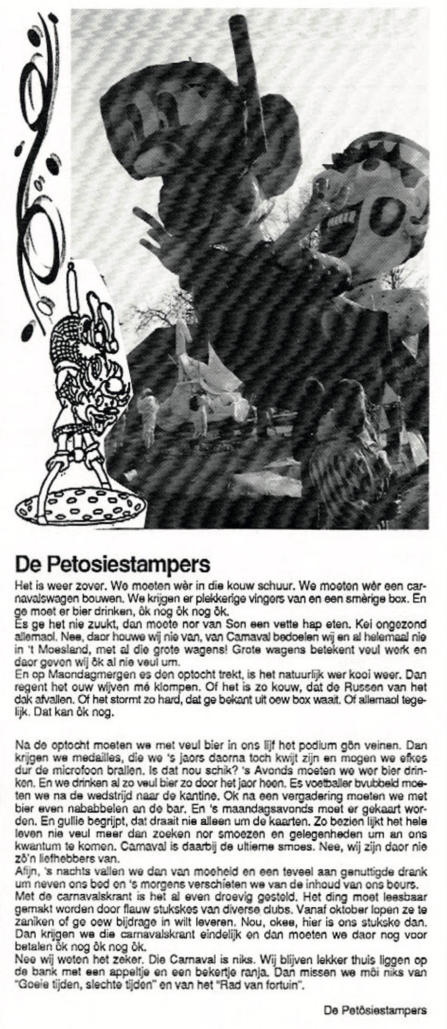 Stukje uit de carnavalskrant van de Petôsiestampers - 1996