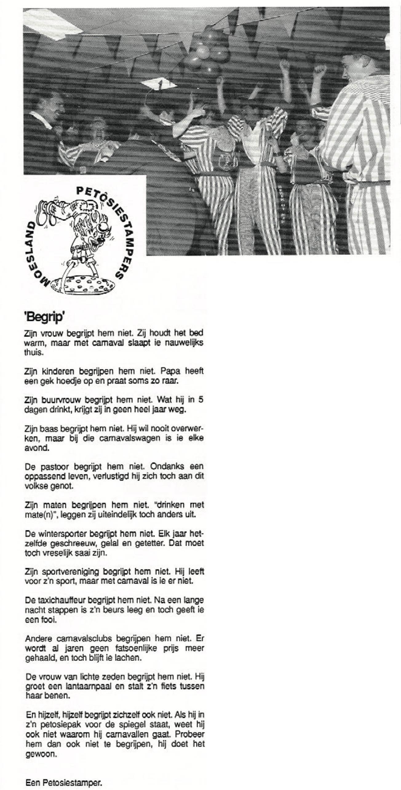 Stukje uit de carnavalskrant van de Petôsiestampers - 1997