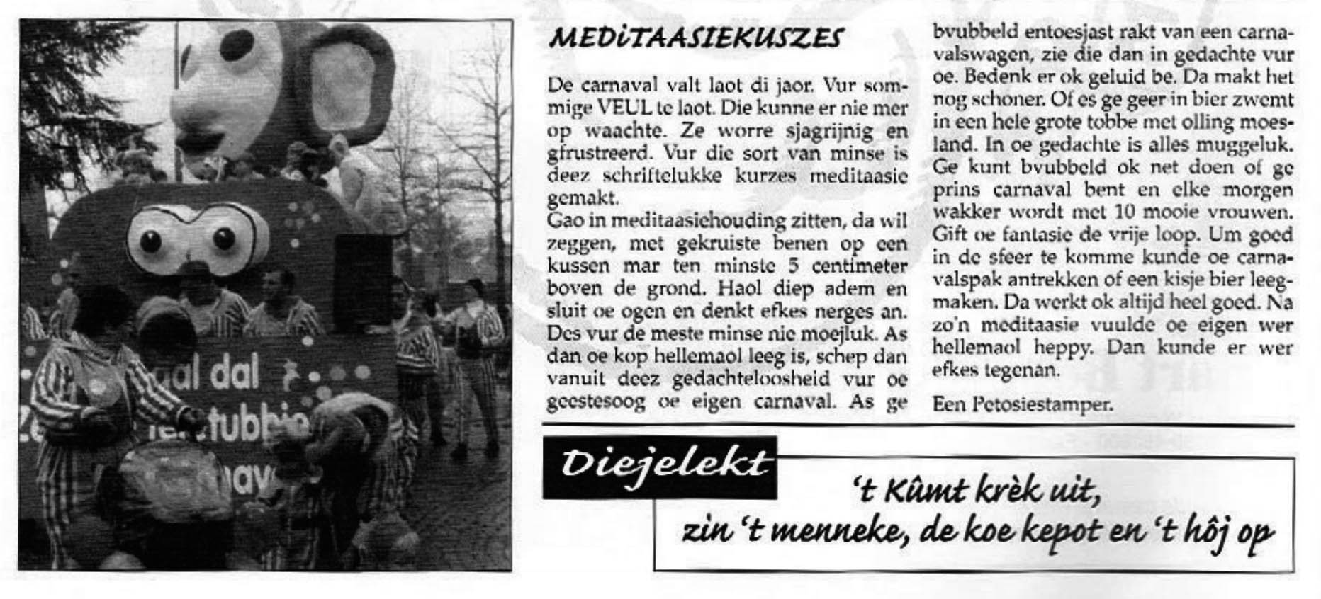Stukje uit de carnavalskrant van de Petôsiestampers - 2000