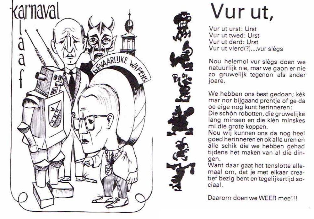 Stukje uit de carnavalskrant van Vur Sles - 1985