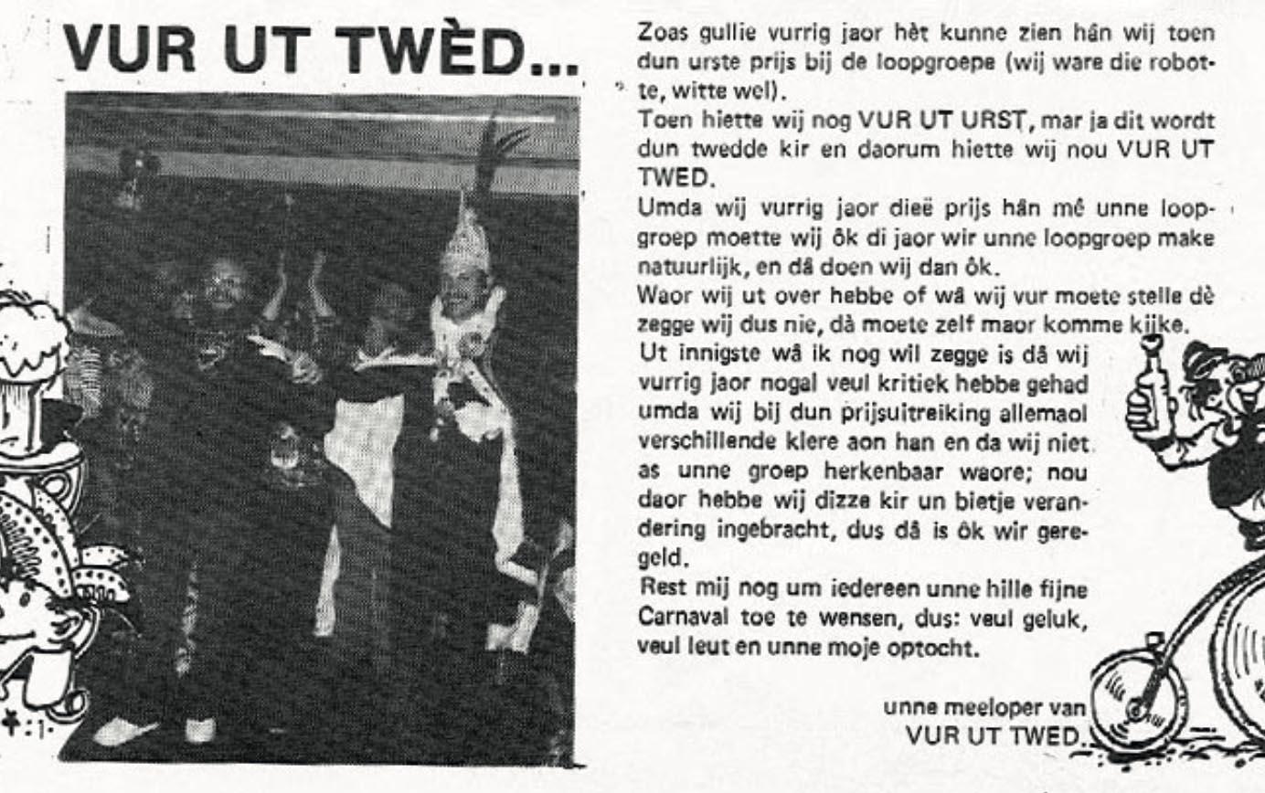 Stukje uit de carnavalskrant van Vur Ut Twed - 1983