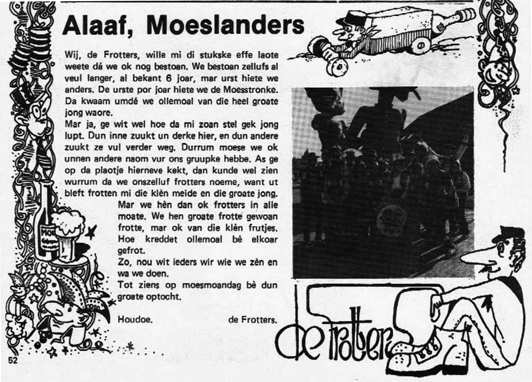 Stukje uit de carnavalskrant van De Frotters - 1983