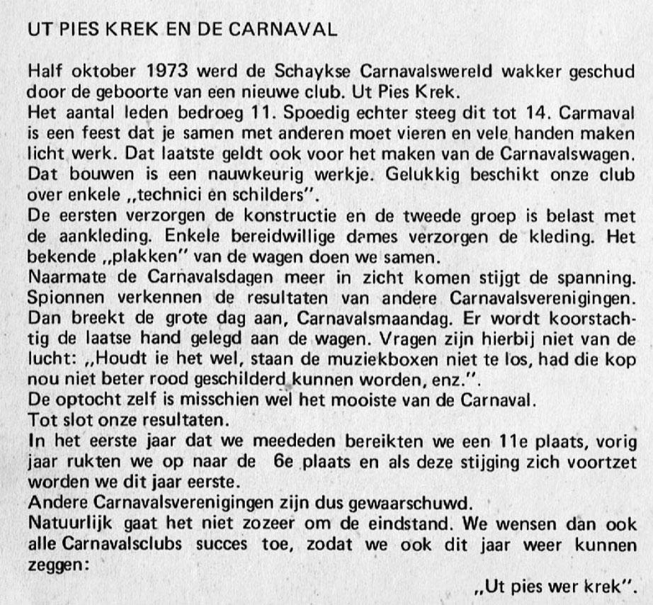 Stukje uit de carnavalskrant van Ut Pies Krek - 1976