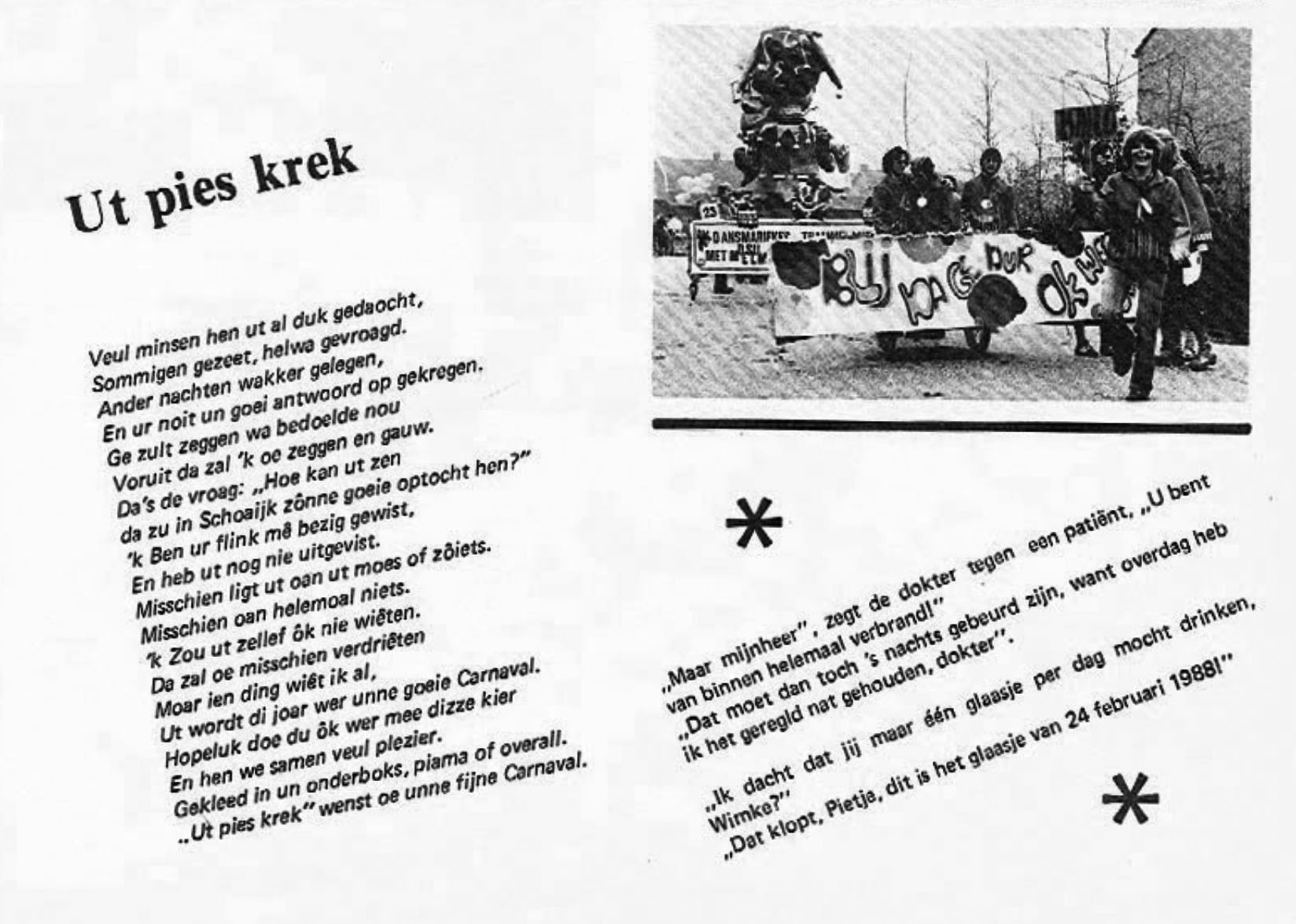Stukje uit de carnavalskrant van Ut Pies Krek - 1979