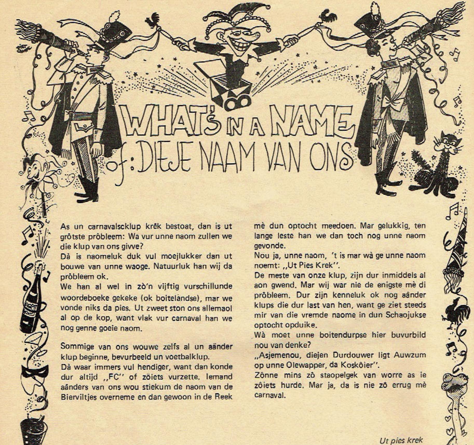 Stukje uit de carnavalskrant van Ut Pies Krek - 1982