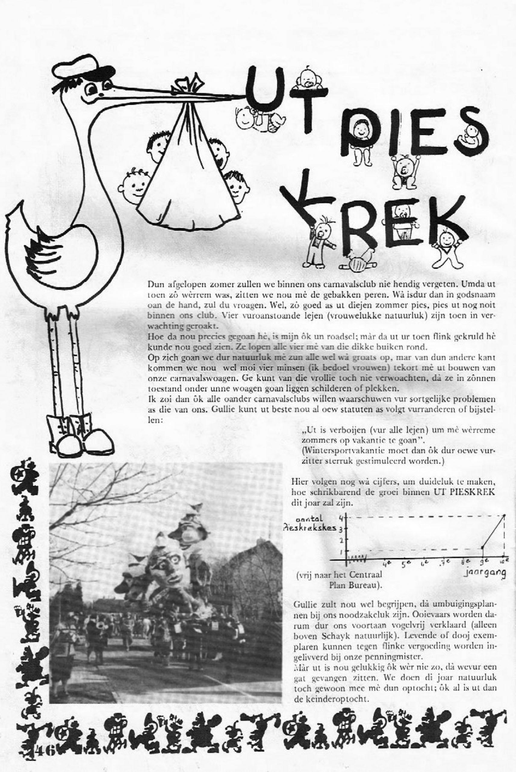 Stukje uit de carnavalskrant van Ut Pies Krek - 1984