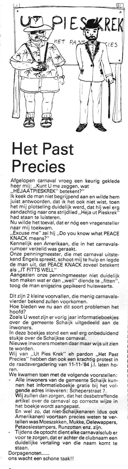 Stukje uit de carnavalskrant van Ut Pies Krek - 1985