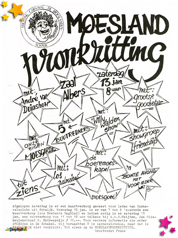 Uitnodiging Pronkzitting Schaijk - 1978