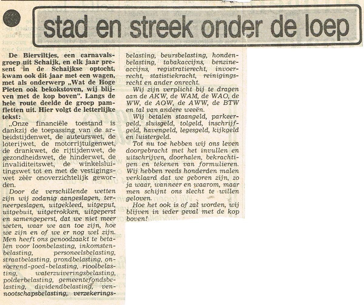 Stuk uit het Brabants Dagblad van de Bierviltjes - 1982