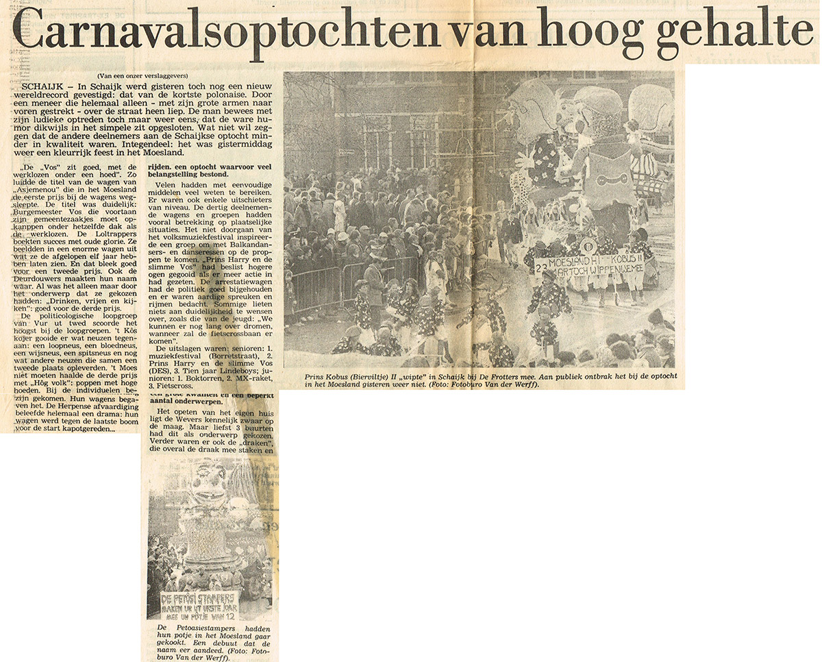 Stuk uit het Brabants Dagblad van de Bierviltjes - 1983