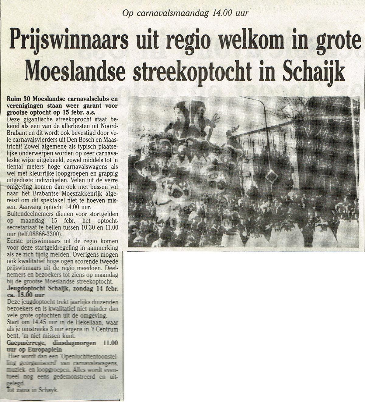 Stuk uit Weekblad Regio Oss van de Bierviltjes - 1988