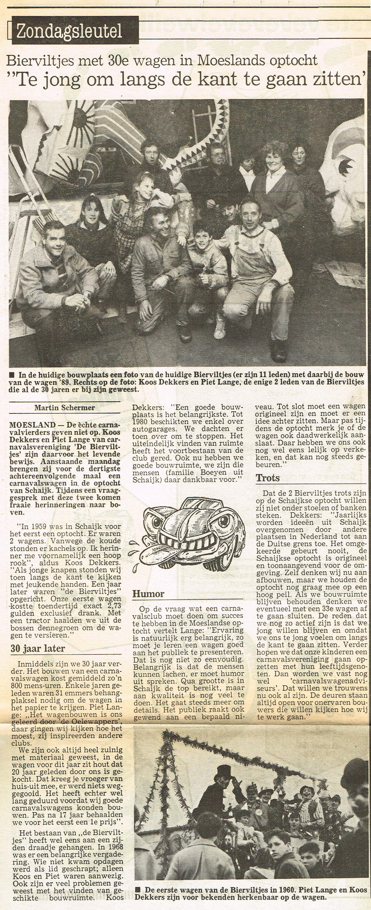 Stuk uit de Sleutel van de Bierviltjes - 1989