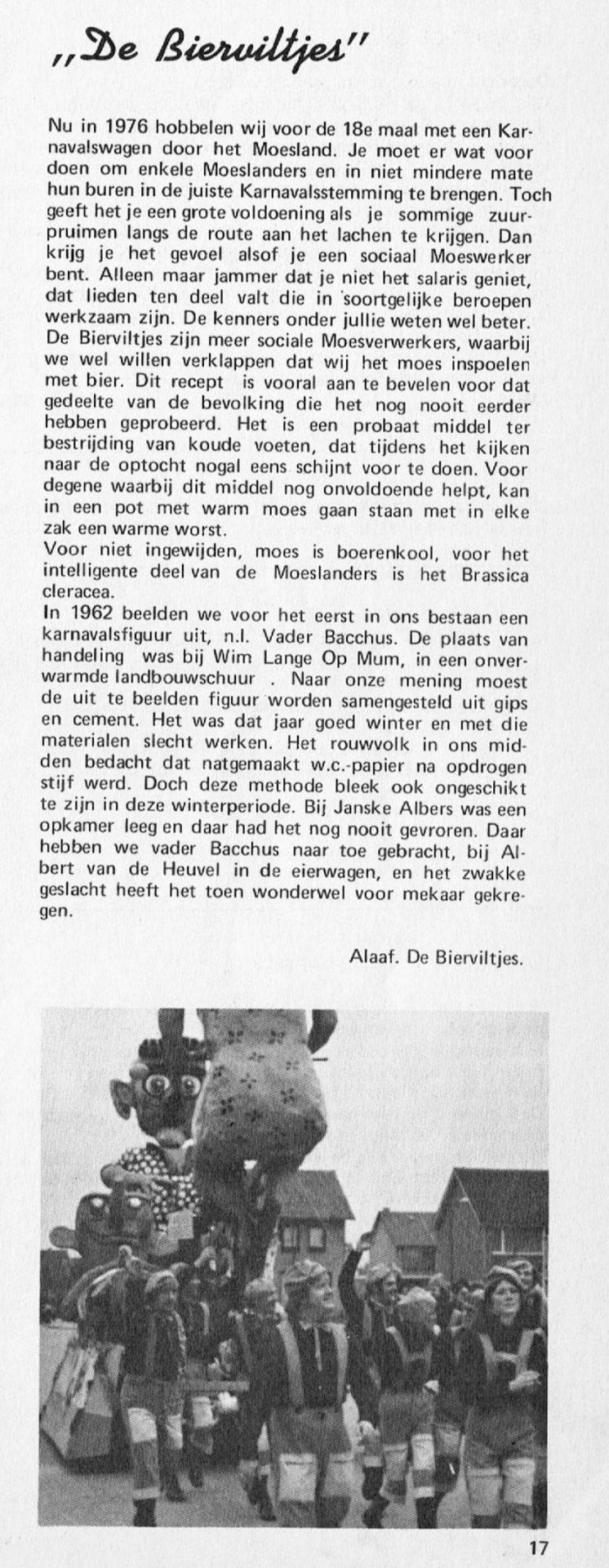Stuk uit de carnavalskrant van de Bierviltjes - 1976