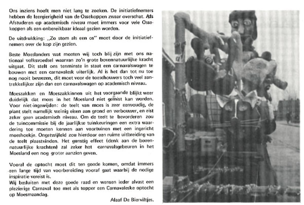 Stuk uit de carnavalskrant van de Bierviltjes - 1978