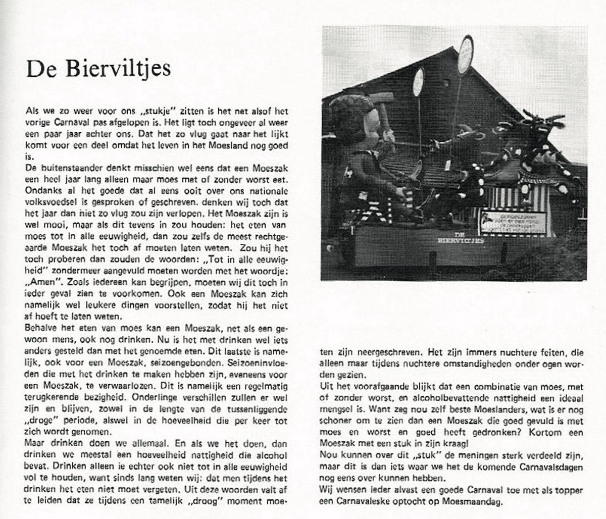 Stuk uit de carnavalskrant van de Bierviltjes - 1979