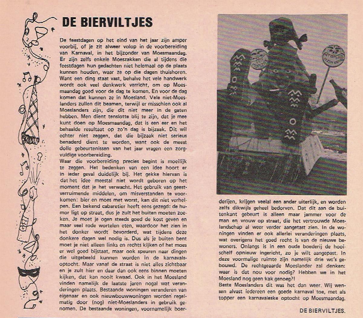 Stuk uit de carnavalskrant van de Bierviltjes - 1980