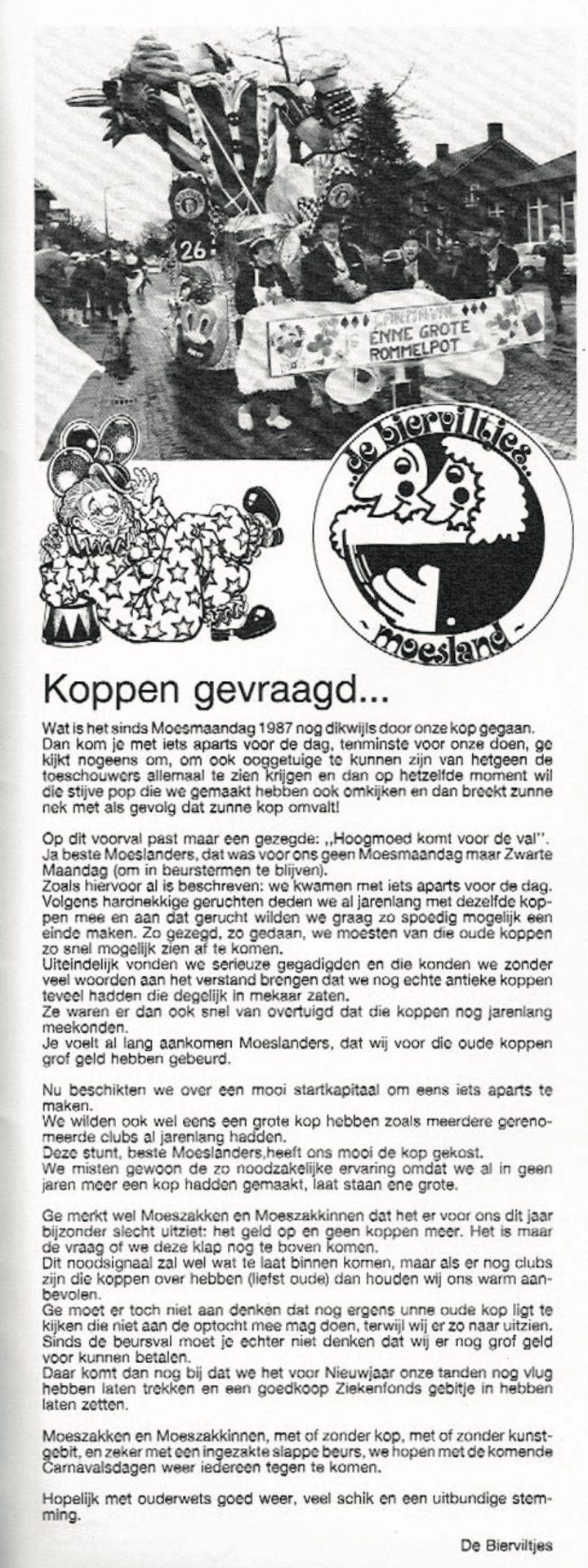 Stuk uit de carnavalskrant van de Bierviltjes - 1988