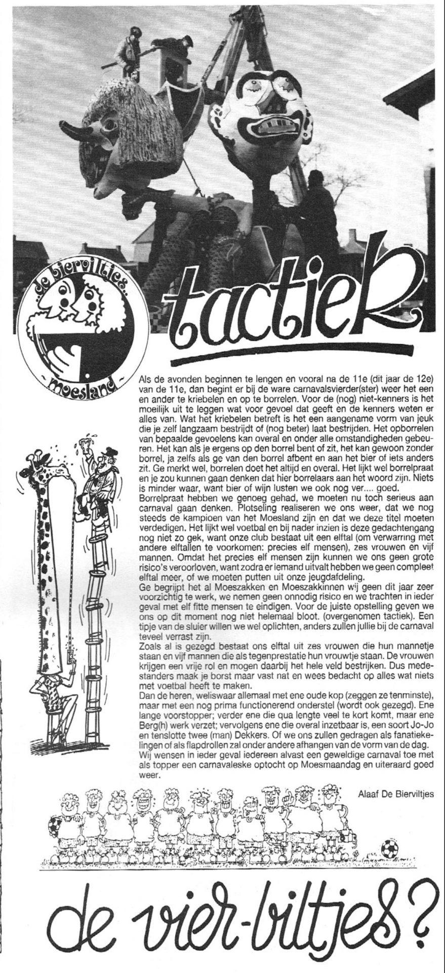 Stuk uit de carnavalskrant van de Bierviltjes - 1989
