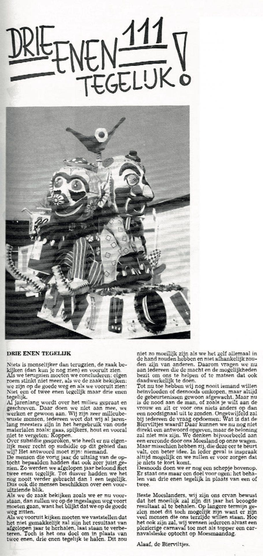 Stuk uit de carnavalskrant van de Bierviltjes - 1990
