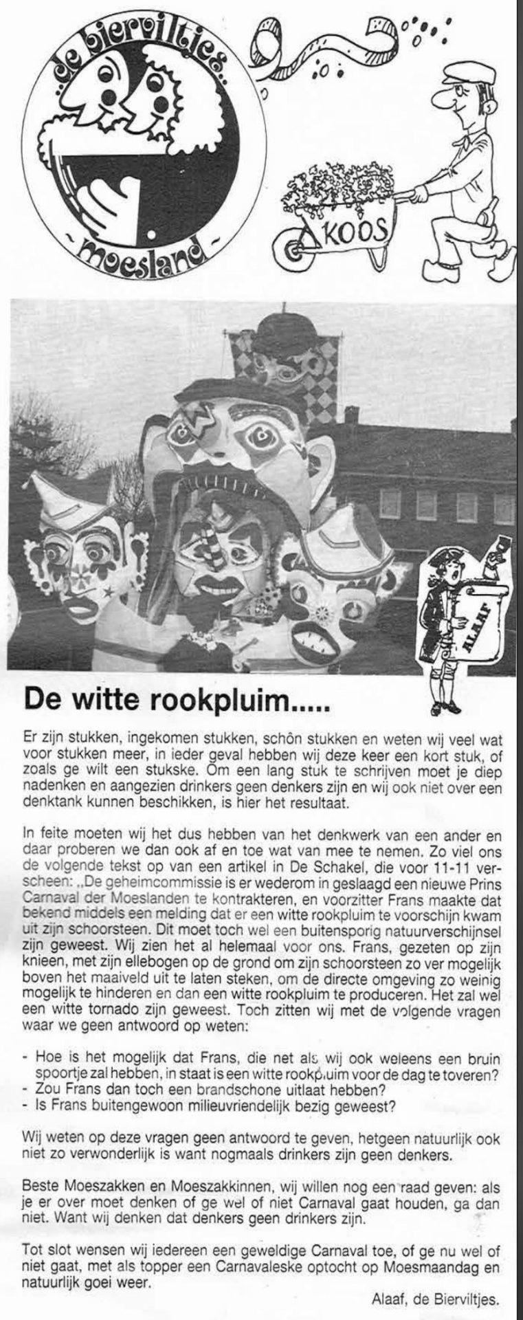 Stuk uit de carnavalskrant van de Bierviltjes - 1991