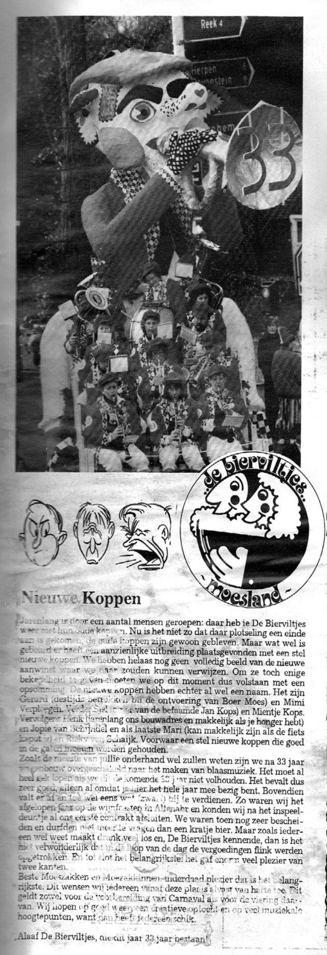 Stuk uit de carnavalskrant van de Bierviltjes - 1993