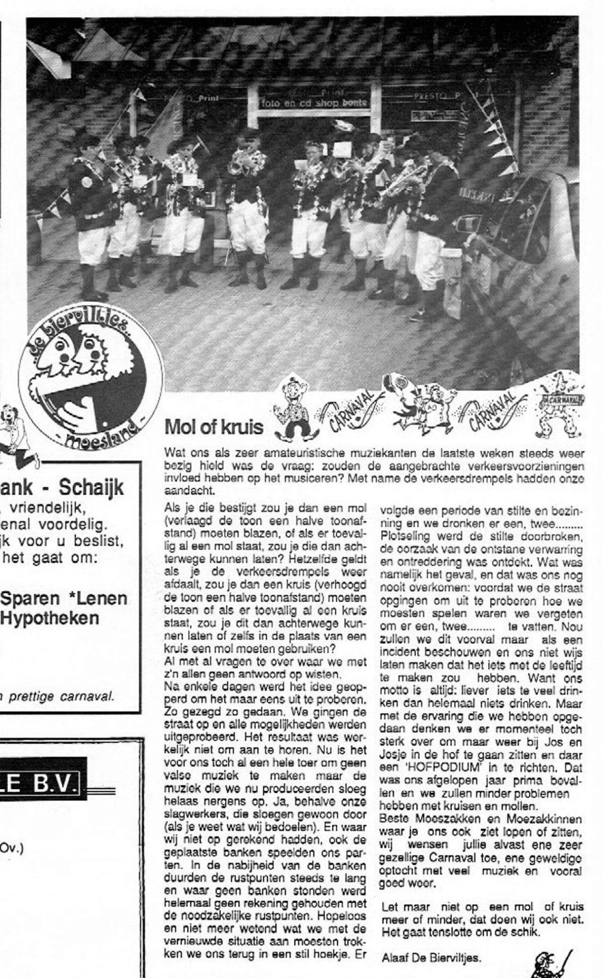 Stuk uit de carnavalskrant van de Bierviltjes - 1994