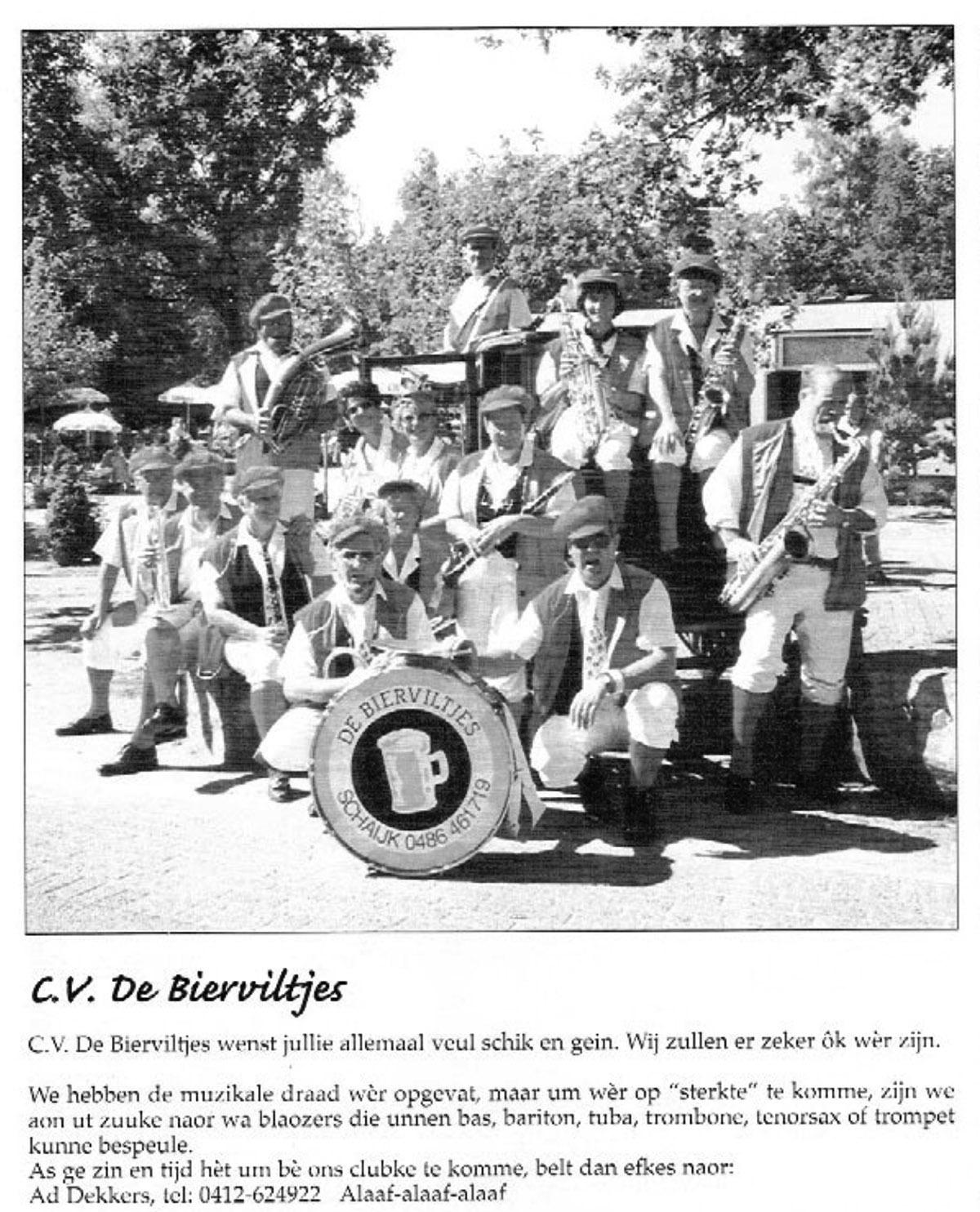 Stuk uit de carnavalskrant van de Bierviltjes - 1999
